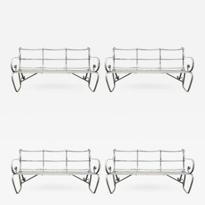 Classic English Edwardian Wrought Iron Strap Style Garden Benches