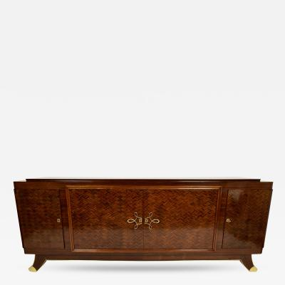 Classic French Art Deco Long Mahogany Sideboard