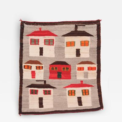 Classic Navajo Pictorial Houses Rug Circa 1920
