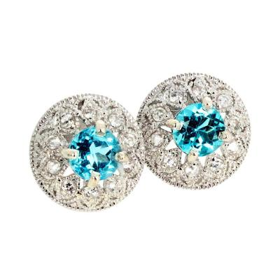 Classic Sparkling 1 82 Ct Intense Blue Topaz and Diamond Stud Earrings