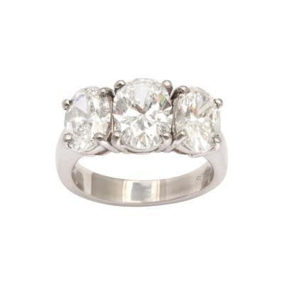 Classic Vintage Three Stone Platinum Diamond Ring