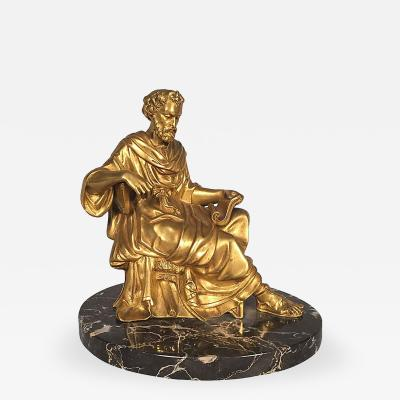 Classical Figure of a Philosopher French Gilt Bronze