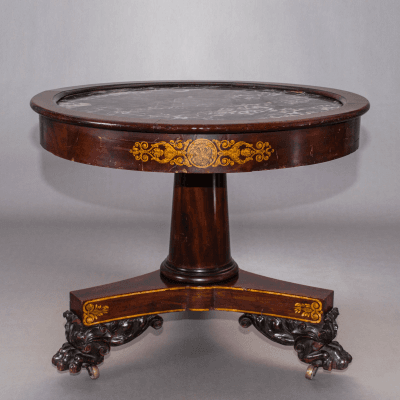 Classical Gilt Stenciled Carved Mahogany Marble Top Center Table