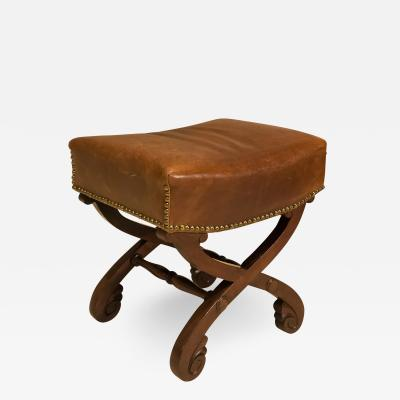 Classical Mahogany and Leather Covered Stool Circa 1820 America