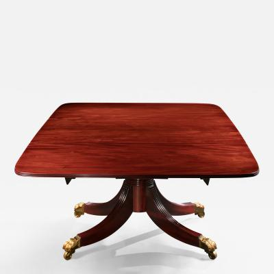 Classical Single Pedestal Drop Leaf Mahogany Dining Table