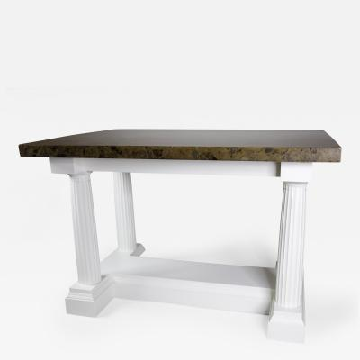 Classical Style Table Desk in White Paint with Faux Marble Top