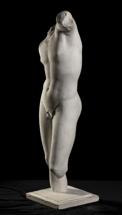Classical White Plaster Cast Nude Sculpture of Apollo After The Antique