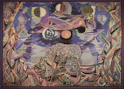 Claude Dodane Modern tapestry designed by Claude Dodane Allegorie du Temps