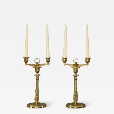 Claude Galle A pair of rare ormolu Empire candelabra by Claude Galle