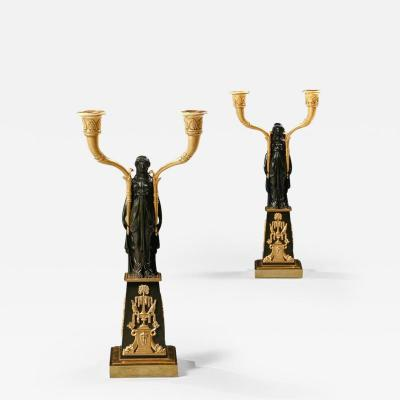 Claude Galle IMPORTANT PAIR OF EARLY EMPIRE FRENCH GILT BRONZE CANDELABRA