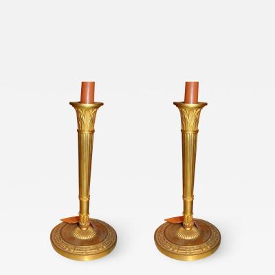 Claude Galle Pair of Empire Bronze Candlesticks