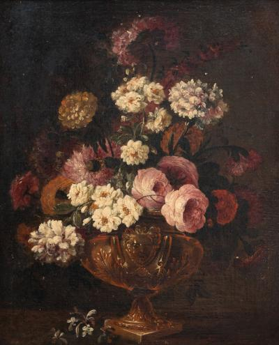 Claude HUILLIOT BUNCH OF FLOWERS IN AN ORNAMENTAL VASE C 1690