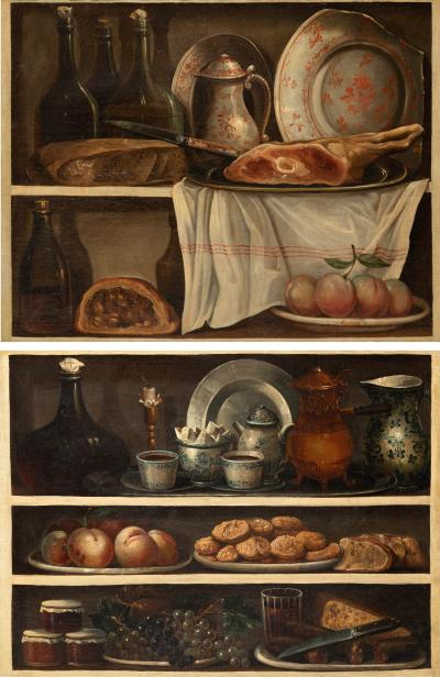 Claude Joseph Fraichot PAIR OF STILL LIFE PAINTINGS OF FOOD DRINK Circa 1750