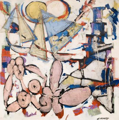 Claude Venard Colourful Abstract Oil on Canvas On the Beach by Claude Venard