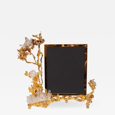 Claude Victor Boeltz Claude Boeltz Exploded Bronze Picture Frame w 24kt Gold Rock Crystal Details