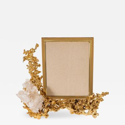 Claude Victor Boeltz Exquisite Picture Frame by Claude Boeltz in Gilded Bronze and Rock Crystal