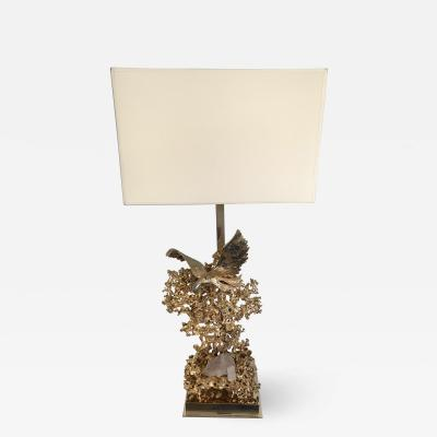 Claude Victor Boeltz Gilt Bronze Lamp with Rock Quartz Crystal and Brass by Boeltz France 1970s
