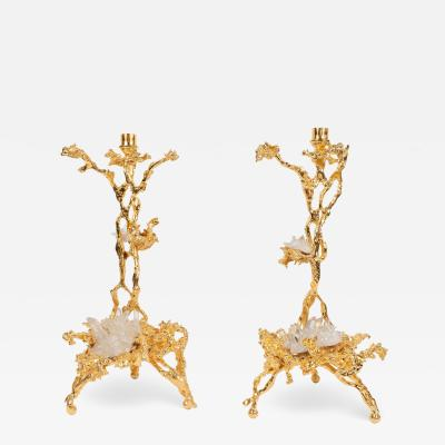 Claude Victor Boeltz Pair of Branch Form 24 Karat Gilded Bronze Candlesticks by Claude Boeltz