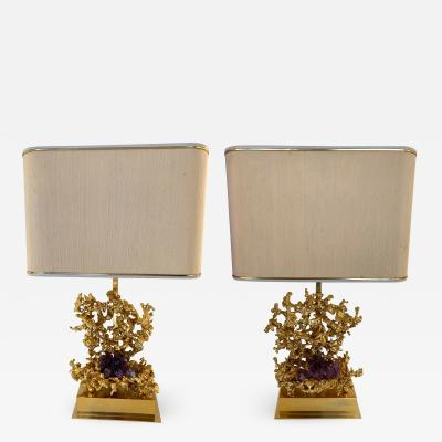 Claude Victor Boeltz Pair of Bronze Amethyst Lamps by Boeltz France 1970s