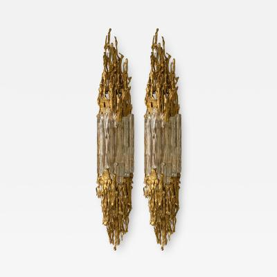 Claude Victor Boeltz Pair of Bronze Murano Glass Sconces by Claude Victor Boeltz France 1970s