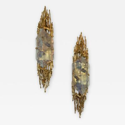 Claude Victor Boeltz Pair of Bronze Sconces Murano Glass by Claude Victor Boeltz France 1970s