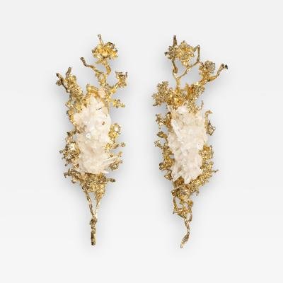 Claude Victor Boeltz Pair of Claude Boeltz 24kt Gold Plated Exploded Bronze Sconces w Rock Crystals