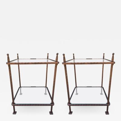 Claudio Rayes Pair of Bronzed Iron Side Tables by Claudio Rayes