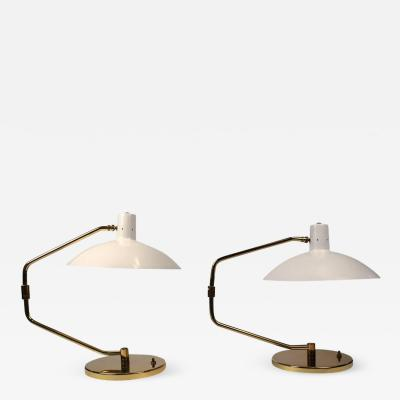 Clay Michie Pair of Brass Pivoting Table Lamps designed by Clay Michie for Knoll