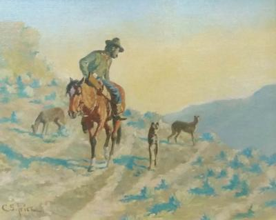 Clayton Sumner Price Man on Horse with Dogs