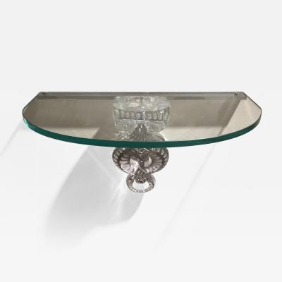 Clear Crystal S ville Demi Lune Console by Lalique France