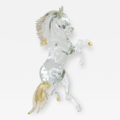 Clear Murano Glass Rearing Horse Sculpture with Gold Flecks