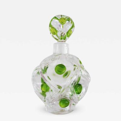 Clear and Green Dot Lalique Perfume Bottle