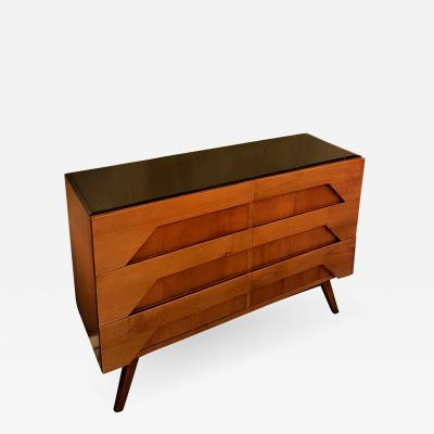 Clear and darker fruit wood Italian Mid Century Modern chest of drawers