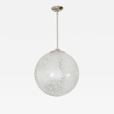 Clear and white mottled Murano glass spherical pendant
