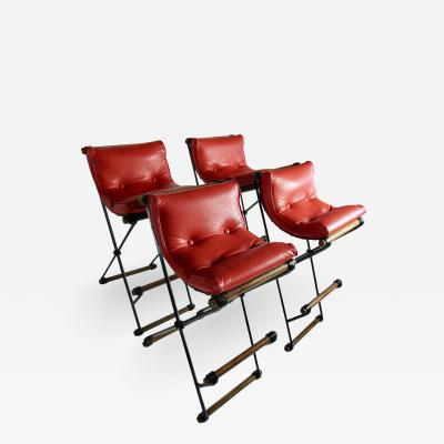 Cleo Baldon Four Cleo Baldon Wrought Iron and Oak Bar Stools Vintage Tomato Red Cushions