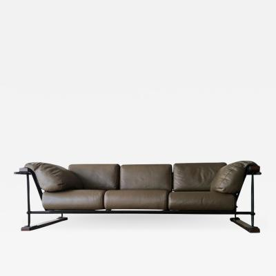 Cleo Baldon Handcrafted 8 Leather Indoor Outdoor Sofa by Cleo Baldon for Terra circa 1965