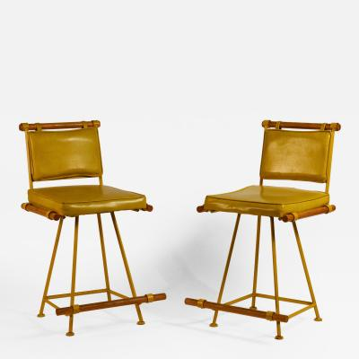 Cleo Baldon Pair of Yellow Cleo Baldon Swiveling Counter Stools