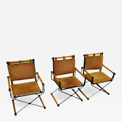 Cleo Baldon Three Cleo Baldon Wrought Iron Campaign Armchairs for Terra circa 1965