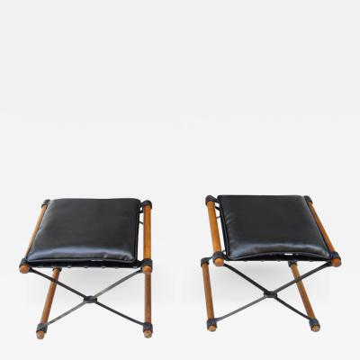 Cleo Baldon Wrought Iron Cleo Baldon Pair of Ottomans for Terra circa 1965