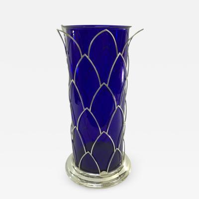 Cleto Munari Sterling and Murano Glass Vase by Cleto Munari circa 1980