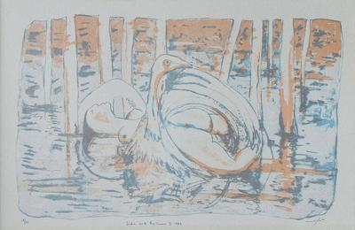 Clifton Pugh Leda and the Swan Lithograph