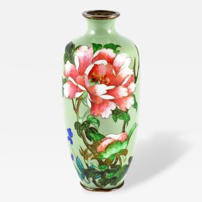 Cloisonn Vase with Peony Flowers Nagoya c 1912 1926