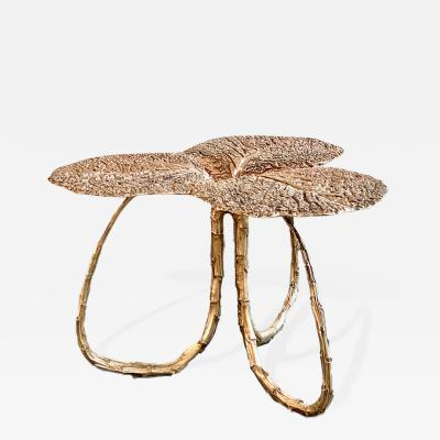 Clotilde Ancarani CLOVER Bronze side table with golden patina