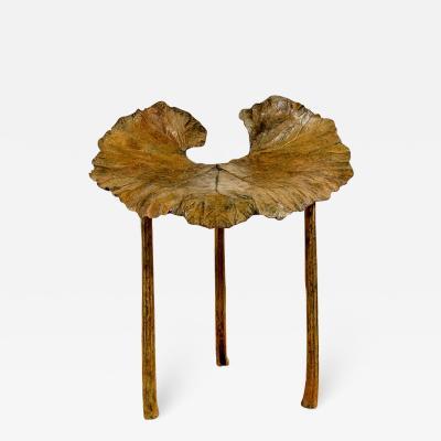 Clotilde Ancarani FOLLIA Bronze stool with brown patina