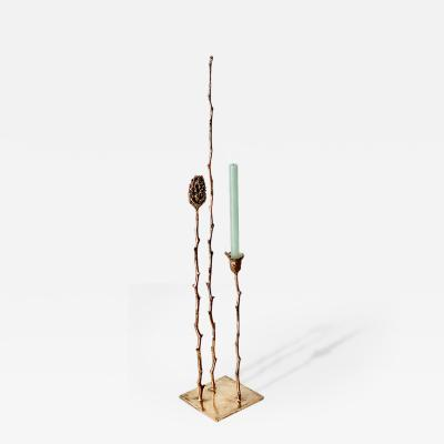 Clotilde Ancarani ONE CANDLE AND FRUIT GOLD Bronze candleholder
