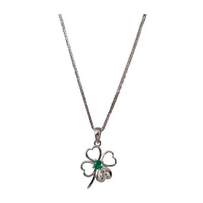 Clover Motif Pendant with Heart Shape Diamond and Emerald