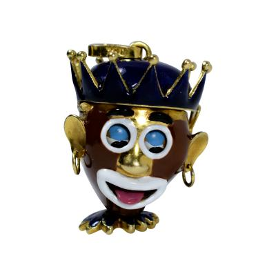 Clown Watch Pendant Mechanical 18 K Gold Movable Charm