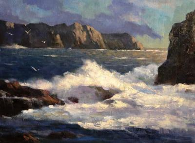Coast in the Morning Painting by Chujian