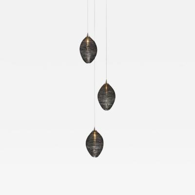 Cocoon 3 Blown Glass Pendant Bedside Chandelier by Shakuff