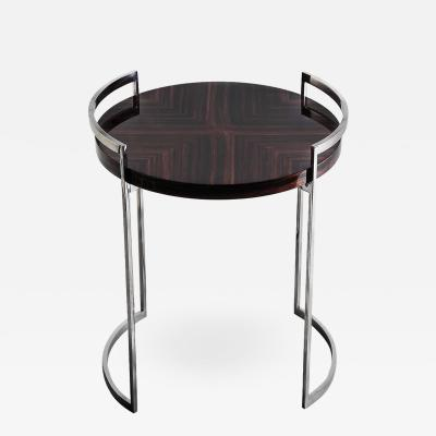 Cocteau Side Table in High Gloss Macassar and Hand Polished Stainless Steel